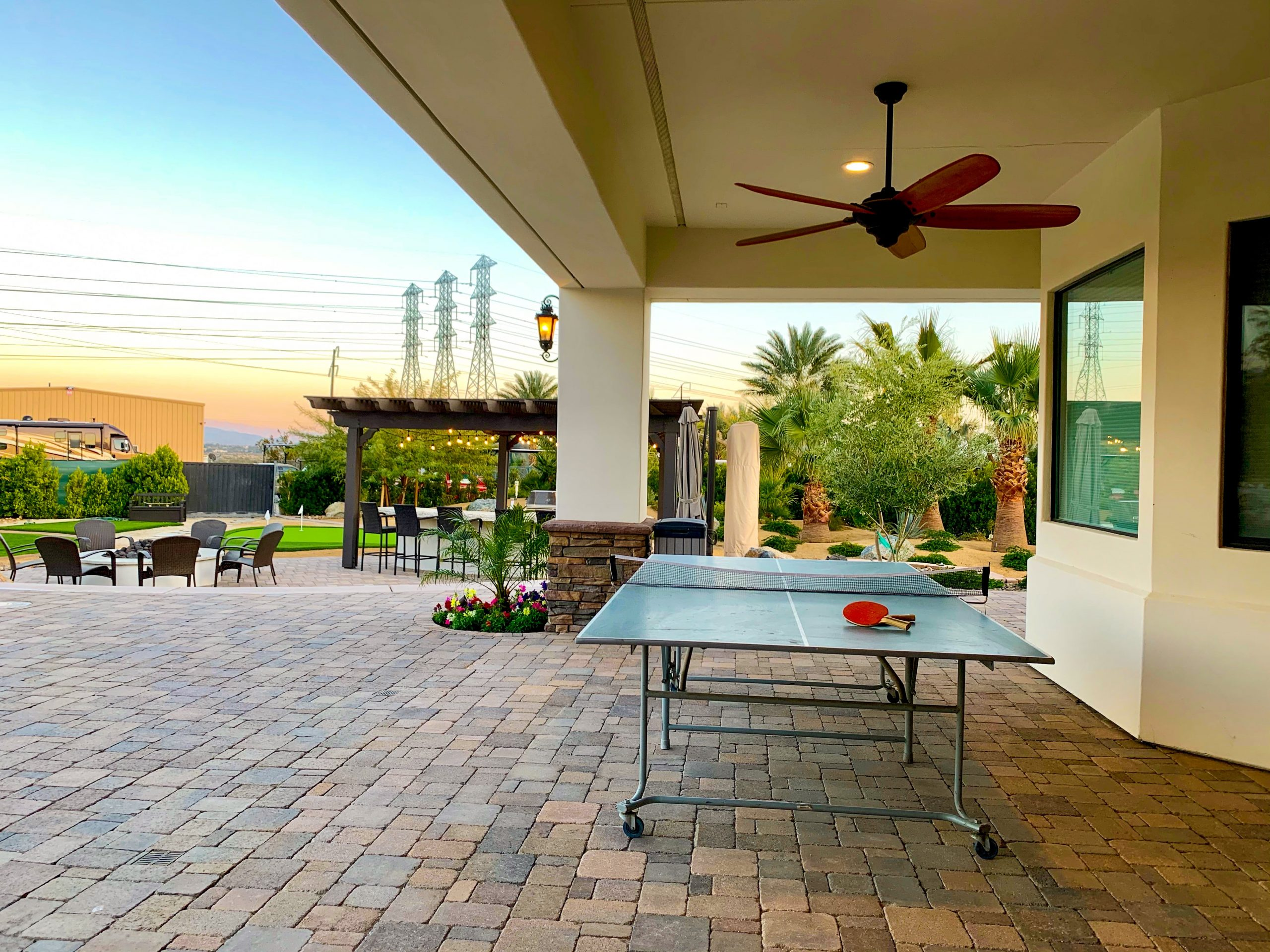 The Estate at Via Las Palmas - Back Patio and Ping Pong Table